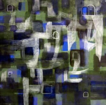 Blues (2012 40 x 40cm tempera/ oil on canvas)