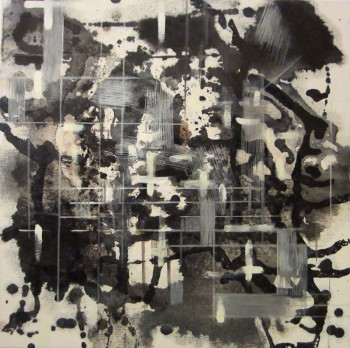 Jazz (2013, Sumi-ink, Gofun-white, coffee, oil and egg tempera on canvas, 40x 40 cm)