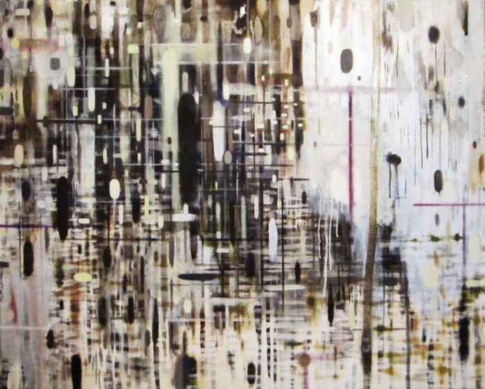 River (2014, Oil, egg tempera, Sumi-ink and Gofun-pigment on canvas, 85 x 100 cm)