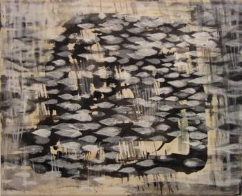 Nightfish (2014, Sumi-ink and Gofun-pigment on canvas, 30 x 40 cm)